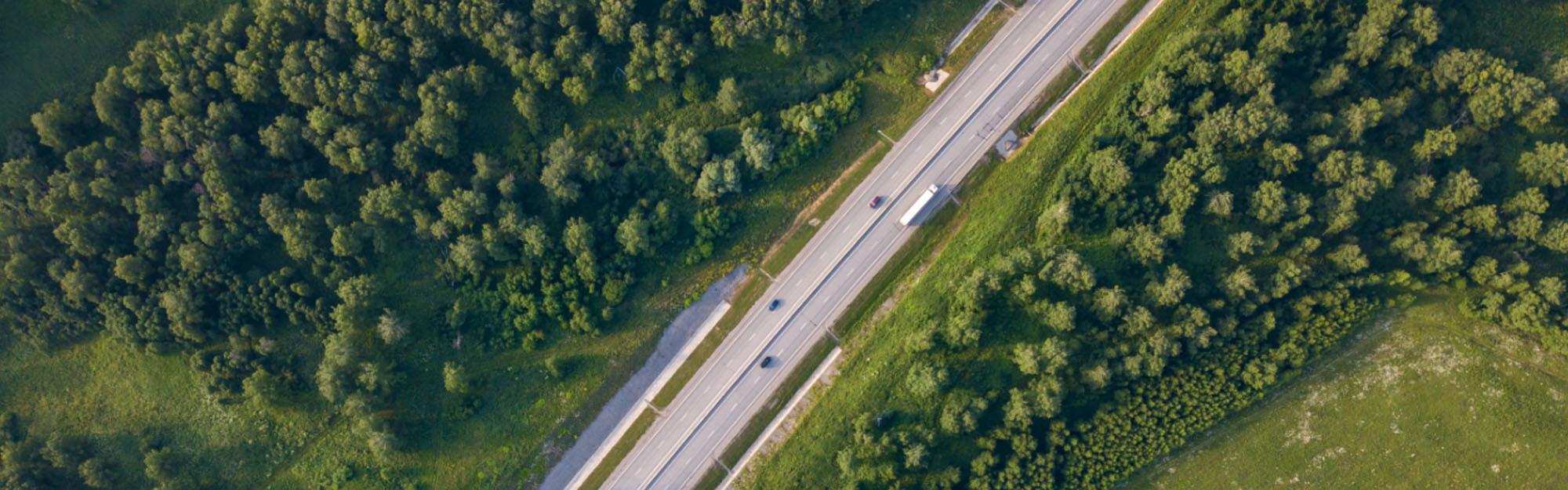 Aerial of highway