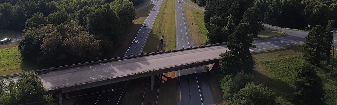 Drone shot of road over two-way highway