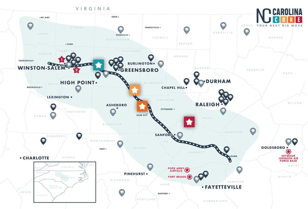 Map of Carolina Core Workforce Assets